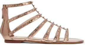 Valentino Garavani Lovestud Metallic Leather Sandals - Beige