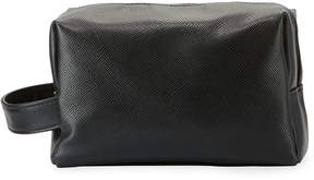 Neiman Marcus Saffiano Leather Dopp Travel Bag, Black