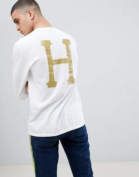 HUF Long Sleeve T-Shirt With Glitter Classic Logo Back Print In White