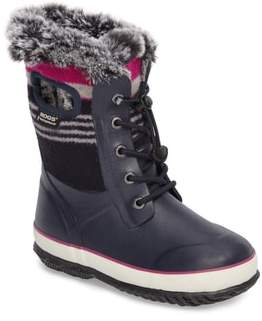 Bogs Girl's Arcata Stripe Waterproof Insulated Faux Fur Boot