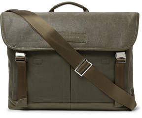 WANT Les Essentiels Jackson Leather-Trimmed Waxed Cotton-Canvas Messenger Bag