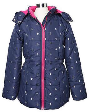 Nautica Toddler Girls' Anchor Print Coat (2T-3T)