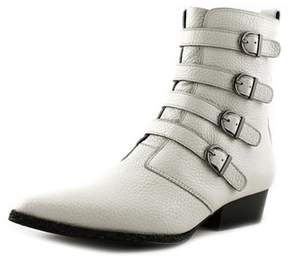 Calvin Klein Jeans Kitty Women Pointed Toe Leather White Mid Calf Boot.