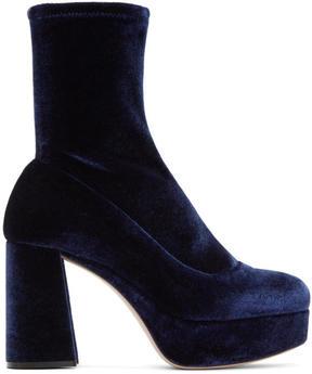 Miu Miu Navy Velvet Platform Sock Boots