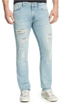 GUESS Mens Distressed Straight Leg Jeans Blue 31x35
