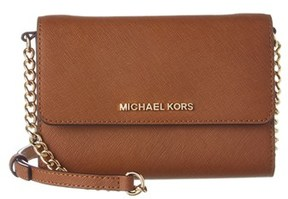 MICHAEL Michael Kors Jet Set Leather Crossbody. - TAN - STYLE