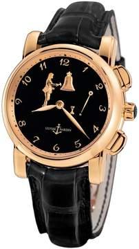 Ulysse Nardin Hour Striker Black Dial 18kt Rose Gold Black Leather Men's Watch 6106-103-E2