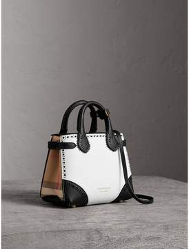 Burberry The Baby Banner in Brogue Detail Leather - CHALK WHITE/BLACK - STYLE
