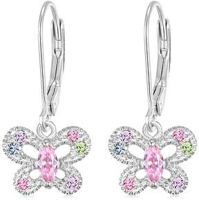 Swarovski Chanteur Jewelry White Gold Plated Sterling Silver Crystal Accent Butterfly Drop Earrings