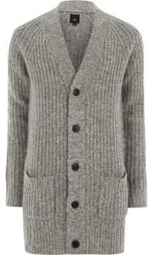 River Island Mens Grey long sleeve longline knit cardigan