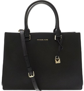 Michael Kors Women's Medium Sutton Gusset Satchel Leather Top-Handle Bag - Black - BLACK - STYLE