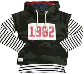Fred Mello Camo & Stripes Hooded Cotton Sweatshirt
