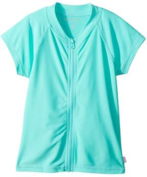 Seafolly Summer Essentials Short Sleeve Zip Front Rashie Girl's Swimwear