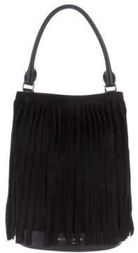 Burberry Fringe Suede Bucket Bag - BLACK - STYLE