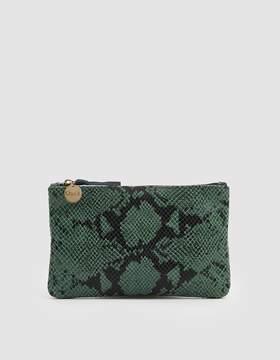 Clare Vivier Wallet Clutch in Green Snakeskin