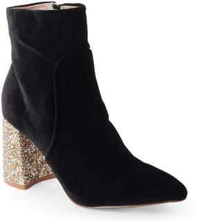 Betsey Johnson Black Velvet Kacey Glitter Heel Booties