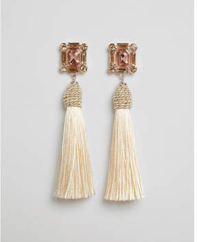 Express baguette wrapped tassel drop earrings