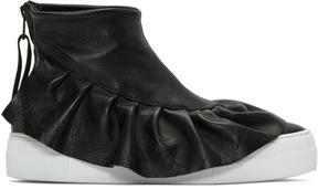Joshua Sanders Black Ruched High-Top Sneakers
