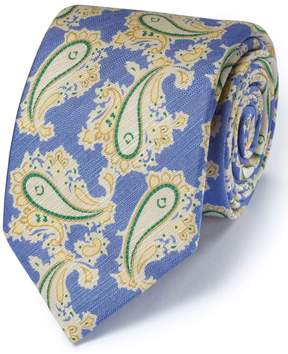 Charles Tyrwhitt Blue Cotton Mix Printed Floral Italian Luxury Tie
