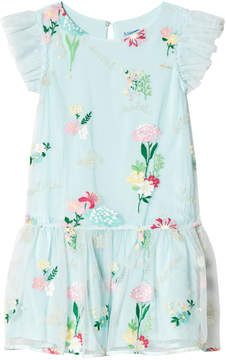 Mayoral Aqua Floral Embroidered Tulle Dress