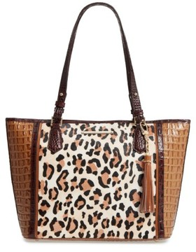 Brahmin Medium Amber Capella - Asher Leather & Genuine Calf Hair Tote - Brown