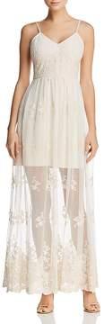 Aqua Embroidered Sheer-Hem Maxi Dress - 100% Exclusive