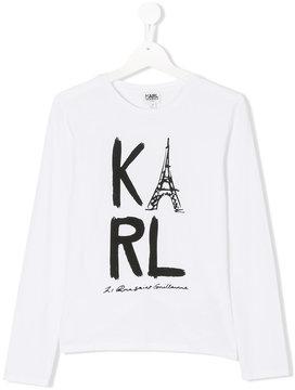 Karl Lagerfeld logo print longsleeved T-shirt