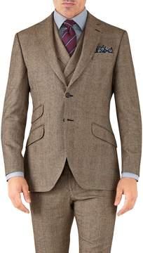 Charles Tyrwhitt Tan Check Slim Fit British Serge Luxury Suit Wool Jacket Size 42