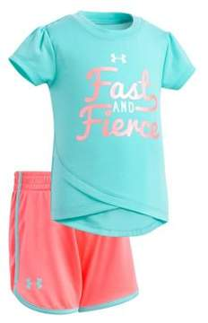 Under Armour Baby Girl's Two-Piece Graphic Tee and Shorts Set
