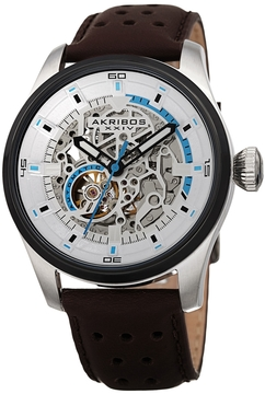 Akribos XXIV Men's Automatic White Skeleton Dial Watch, 46mm