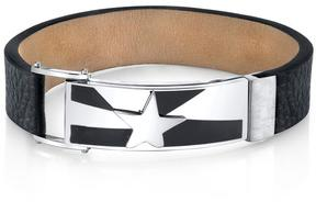 Ice Shooting Star Black Genuine Leather and Stainless Steel Bracelet for Men