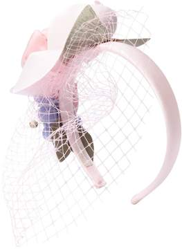 MonnaLisa Satin Headband W/ Flowers & Veil