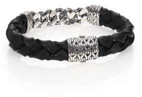 John Hardy Classic Chain Gourmette Silver Link & Leather Bracelet
