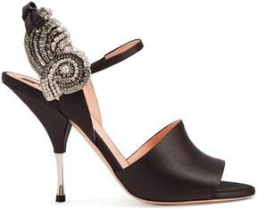 Rochas Crystal-embellished satin sandals
