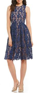 Donna Morgan Mock Neck Lace Midi Dress