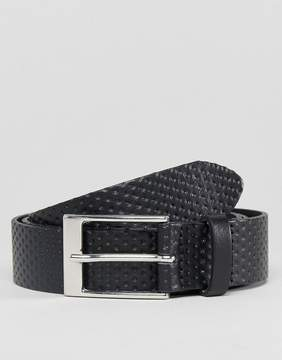 Asos DESIGN smart slim leather belt in black with emboss detail