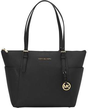 Michael Kors MICHAEL Jet Set Medium Top-Zip Tote - BLACK / GOLD - STYLE