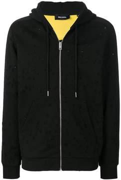 Diesel holey zipped hoodie