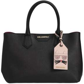Karl Lagerfeld K Saffiano Leather Tote W/ Choupette Tag