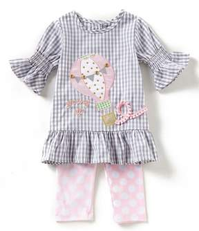 Rare Editions Baby Girls 12-24 Months Checked Hot Air Balloon Top & Large-Dot Leggings Set