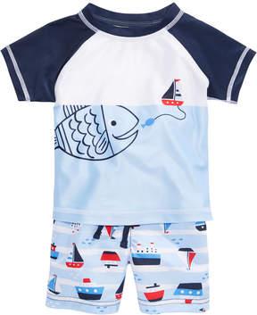 First Impressions 2-Pc. Fish Rash Guard & Sailboat Swim Trunks Set, Baby Boys, Created for Macy's