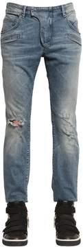 Pierre Balmain 17cm Biker Destroyed Stretch Denim Jeans