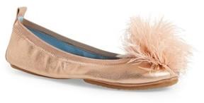 Yosi Samra Women's Marabou Feather Pompom Flat
