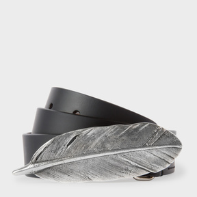 Paul Smith Women's Black Feather Buckle Leather Belt