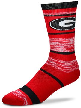 For Bare Feet Adult Georgia Bulldogs RMC Stripe Crew Socks