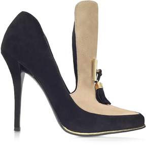 Balmain Constance Black and Beige Soft Suede Pump