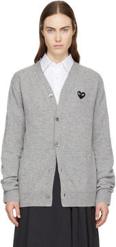 Comme des Garcons Grey and Black Heart Patch V-Neck Cardigan