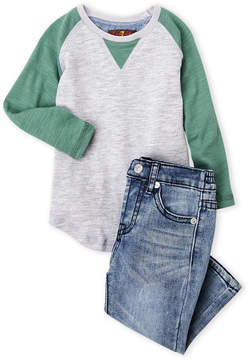 7 For All Mankind Infant Boys) Two-Piece Raglan Tee & Jeans Set