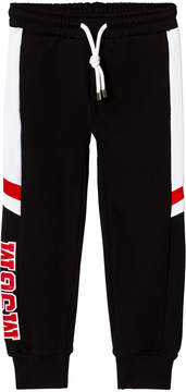 MSGM Black and White Panel Logo Sweatpants
