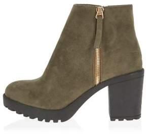 River Island Womens Khaki block heel ankle boots
